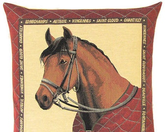 Horse Pillow Cover - 18x18 Belgian Tapestry Pillow Cover - Horse Lover Gift - Horse Decor - PC-4955