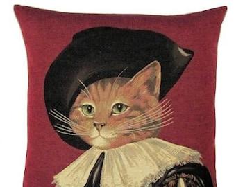 Susan Herbert Cat Pillow Cover - 18x18 Belgian Tapestry Cushion Cover - d'Artagnan gift - Dressed Cat Pillow - PC-4772/R