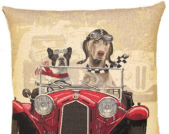 French Bulldog Pillow Cover - Weimaraner Throw Pillow - Dog Lover Gift - Oldtimer Car Pillow - PC-5153