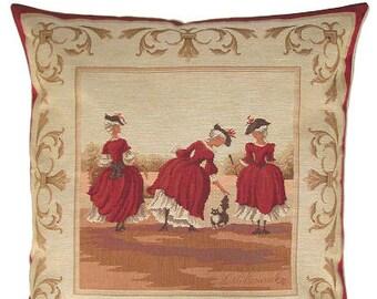 jacquard woven belgian tapestry cushion Marquises & cat by Fabrice de Villeneuve