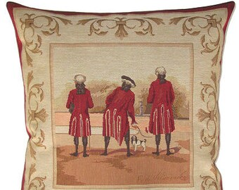 jacquard woven belgian tapestry cushion Marquises & dog by Fabrice de Villeneuve