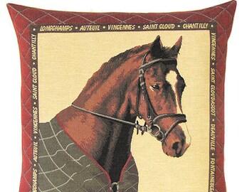 Horse Decor - Animal Pillow Cover - Horse Gift - Tapestry Cushion Cover - Belgian Tapestry - 18x18 Pillow Cover - Horse Throw Pillow