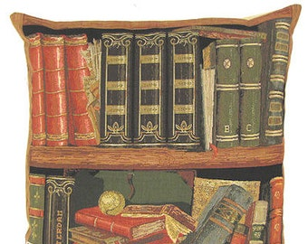 belgian tapestry cushion cover throw pillow antique books and baseball in library jacquard woven
