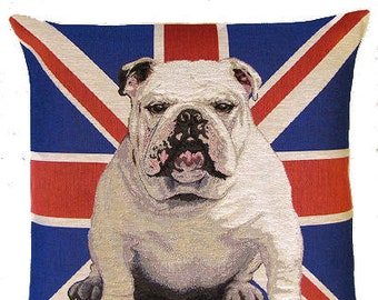 English Bulldog Pillow Cover with Union Jack Flag – 18x18 Belgian Tapestry Pillow Cover - PC-4819