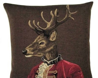 Dressed Stag Pillow Cover - Military Costume Pillow - Stag Decor - Stag Gift - 18x18 Begian Tapestry Pillowcase - PC-5211/BR