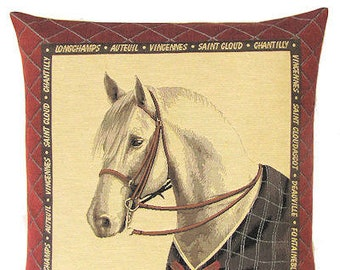 jacquard woven belgian tapestry cushion pillow cover white horse with blanket