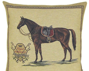 jacquard woven belgian tapestry cushion pillow horse Royal Dressage