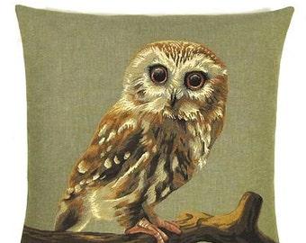 jacquard woven belgian tapestry cushion owl
