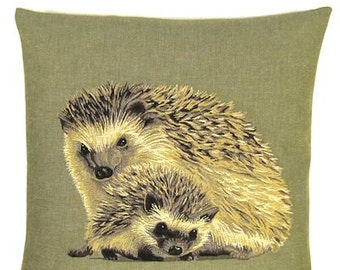Hedgehogs Pillow Cover - Hedgehog Gift - 18x18 Sage Green Pillow - Belgian Tapestry Cushion Cover - PC-5317