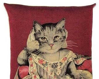 Dressed Cat Pillow Cover - Lady Anne throw pillow - Cat Lover Gift - Cat Portrait - Cat Cushion Cover - red pillow case - Cat Decor