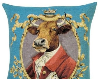 Cow Pillow Cover - Cow Decor - Cow Gift - Funny Cow - Quirky Cow - 18x18 Belgian Tapestry Pillow Cover