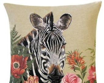 Animal Pillow Cover - Zebra Throw Pillow - Tapestry Cushion Cover - Zebra Gift - Tropical Decor - Flower Pillow - 18x18 Cushion Cover