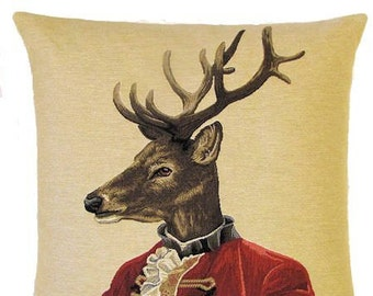 jacquard woven belgian tapestry cushion pillow stag deer with red costume