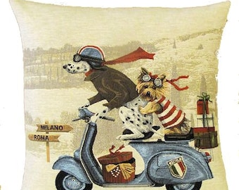 Dalmatian and Yorkshire Terrier Pillow Cover with Blue Vespa Scooter - 18x18 Belgian Tapestry Pillow Cover - Dalmatian Gift  - Dog Decor