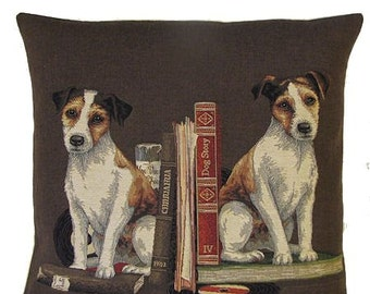 Jack Russsel Pillow Cover - Jack Russell Gift - Belgian Tapestry Pillow Cover - 18x18 pillow - Chocolate Brown Pillow - PC-5104/BR