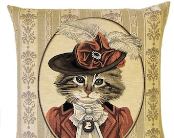 Cat Pillow - Cat Pillow Cover - Cat Lover Gift - Dressed Victorian Cat - Cat Pillow Case - Cat Portrait