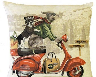 French Bulldog and Weimaraner Pillow Cover with Vespa Scooter - Dog Lover Pillow - Fancy Dog Decor - Weimaraner Gift - Bulldog gift