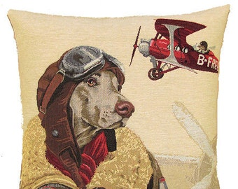 Weimaraner Bomber Pilot Pillow Cover - 18x18 Belgian Tapestry Throw Pillow - Weimaraner Lover Gift - PC-5153