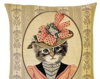 Dessed Cat Pillow - Cat Pillow Cover - Cat Lover Gift - Dressed Victorian Cat - Cat Pillow Case - Cat Portrait - cat tapestry cushion cover