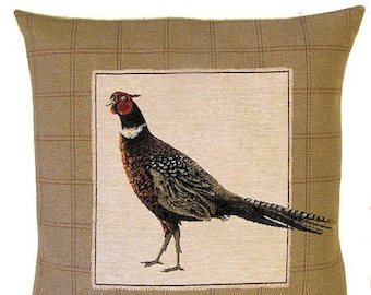 Pheasant Pillow Cover Pheasant Cushion Cover Forest Decor Pheasant Gift Belgian Tapestry Throw Pillow 18x18 - PC-5210