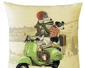 Whippet and Jack Russell Pillow Cover with Vespa Scooter - 18x18 Belgian Tapestry Pillow Cover - PC-5202