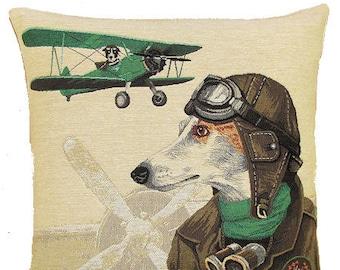 Whippet Bomber Pilot Pillow Cover - 18x18 Belgian Tapestry Pillow Cover