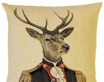 Dressed Stag Pillow Cover - 18x18 Belgian Tapestry Pillow Cover - stag with military costume