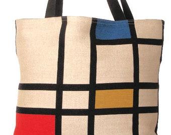 Mondrian Tote Bag - Mondrian Shoulder Bag - Fine Arts Handbag - Tapestry Hobo Bag - Woven Handbag - Art Gift - Abstract Art Gift