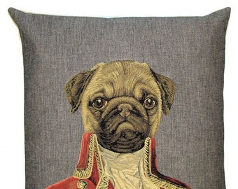 pug pillow cover - dressed pug throw pillow - Poncelet dog cushion cover - pug lover gift - pug decor - belgian tapestry dog pillow case