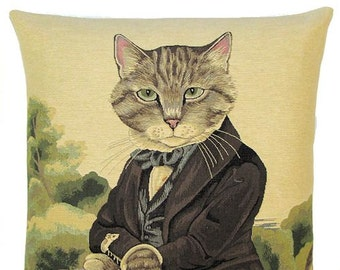 Cat Gift - Cat Pillow Cover - Susan Herbert Cat Portrait - Cat Lover Gift - Dressed Cat - Cat Portrait
