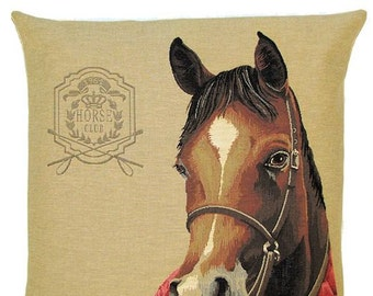 Horsehead Pillow Cover - Horse Cushion Cover - Horse Lover Gift - Brown Horse Decor - Tapestry Pillow Cover