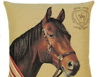 Horsehead Pillow Cover - Racing Horse Decorative Pillow - Horse Lover Gift - Horse Throw Pillow - 18x18 Belgian Tapestry Cushion - PC-5242