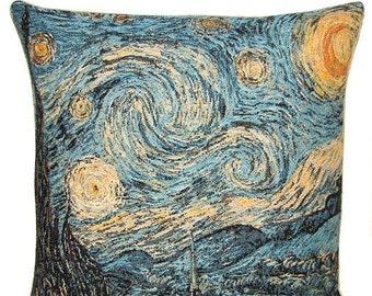Starry Night Pillow - Van Gogh Pillow Cover - Vincent Van Gogh Gift - 18x18 Belgian Tapestry Cushion - PC-1797