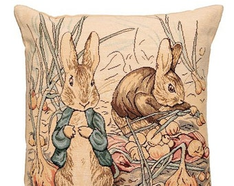 Peter Rabbit Gift - Peter Rabbit Pillow Cover - Beatrix Potter Gift - Beatrix Potter Pillow - 14x14 Belgian Tapestry Cushion Cover