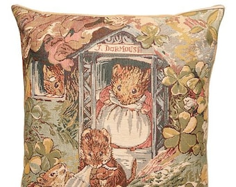 belgian tapestry gobelin cushion throw pillow cover Tale of Mrs.Tittlemouse by Beatrix Potter