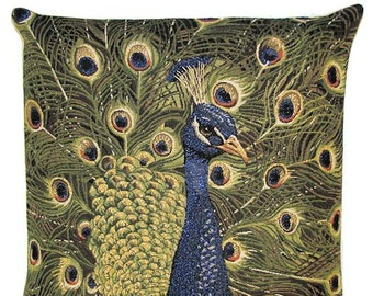 Peacock Pillow Cover - Peacock Decor - Peacock Gift - 18x18 Belgian Tapestry Pillow - PC-5249