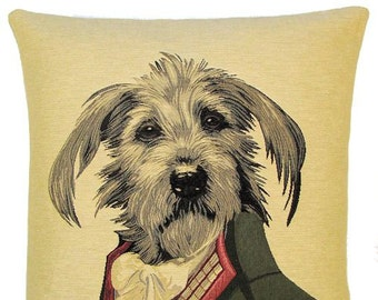 basset griffon tapestry cushion throw pillow cover costume design by by Thierry Poncelet jacquard woven in Belgium - PC-F76