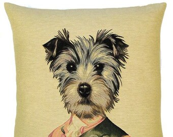Schnauzer pillow cover - Schnauzer gift - 18x18 belgian tapestry cushion cover - schnauzer throw pillow - PC-F49