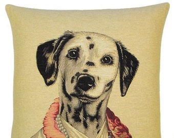 dalmatian dog tapestry cushion throw pillow cover design by Thierry Poncelet jacquard woven in Belgium - PC-5121