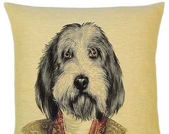 Schnauzer Pillow Cover - Schnauzer Gift - Dog Portrait Throw Pillow - Belgian Tapestry Cushion Cover - Thierry Poncelet Dog Portrait