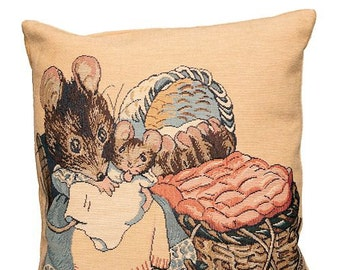 Tale of Hunca Munca Pillow Cover - Peter Rabbit Pillow - Peter Rabbt Decor - Beatrix Potter Gift - 14x14 tapestry cushion cover