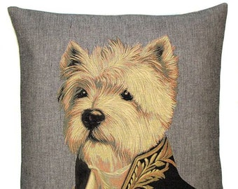 jacquard woven belgian tapestry cushion dressed up westy westland terrier by Thierry Poncelet