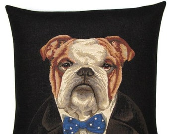 English Bulldog with Bowtie Pillow Cover - 18x18 Belgian Tapestry Pillow Cover - Churchill Throw Pillow Cover - PC-5255