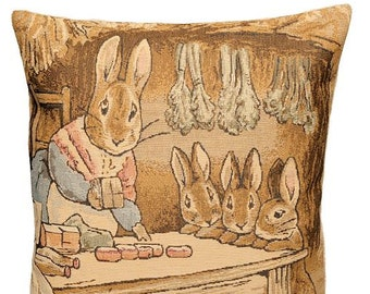 jacquard woven belgian tapestry cushion pillow cover Tale of Peter Rabbit by Beatrix Potter