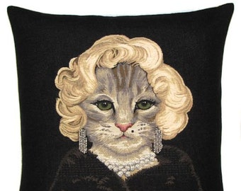 Marilyn Monroe Cat Pillow Cover - Cat Lover Gift - Cat Decor - 18x18 Tapestry Throw Pillow - Cat Cushion Cover