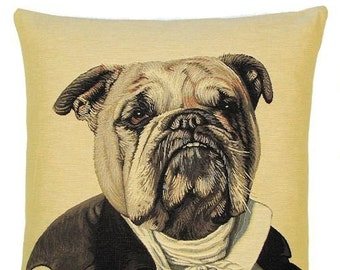 English Bulldog pillow cover - 18x18 belgian tapestry pillow cover - dressed up Poncelet Dog throw pillow - PC-5120