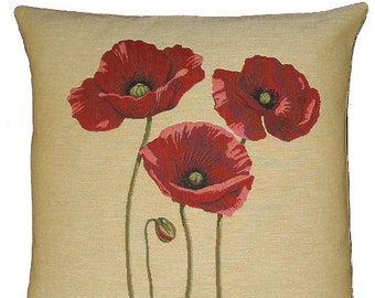 Flower Decor - Poppy Fift - PoppiesPillow Cover - Poppies Decor - Floral Decorative Pillow - Tapestry Cushion - 18x18 tapestry throw pillow