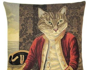 Cat Lover Gift - belgian tapestry cushion cover - Cat Gift - Susan Herbert Cat Portrait - Captain Nelson dressed cat - PC-5168