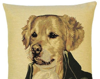 Golden Retriever Pillow Cover - 18x18 Belgian Tapestry Cover - Golden Retriever Gift - Poncelet Dog Portrait Pillow - PC-4770