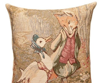 Jemima Puddle Duck Pillow Cover - Beatrix Potter Gift - Tale of Peter Rabbit Pillow - 14x14 Belgian Tapestry Cushion